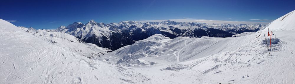 Panoramic view of Champagny en Vanoise Valley