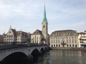 View of Kirche Fraumünster in Zurich, from across the river