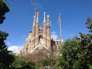 Segrada Familia from the park the to the east