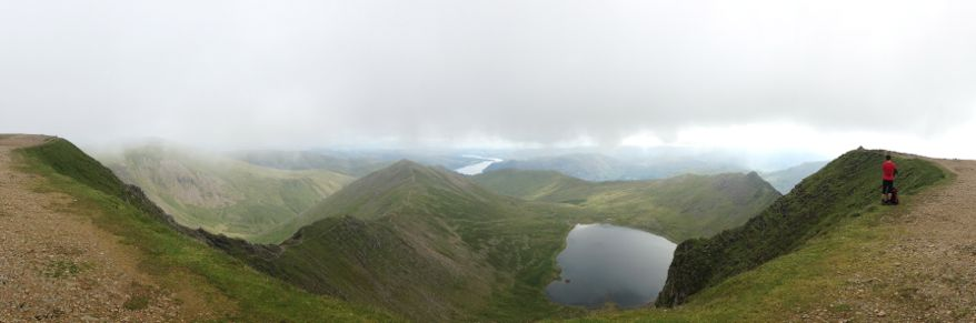 Panoramic view from the top of Helvellyn, including Swirrel Edge, Red Tarn and Striding Edge