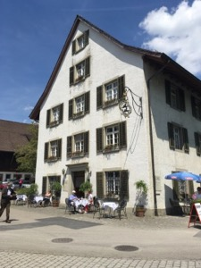 Front of white, timber framed Klosterfahr restaurant