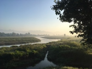 View over misty fields and river