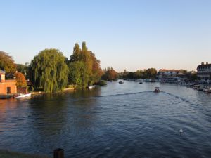 View down the Thames from the bridge in Henley