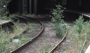 Disused train tracks running into tunnel