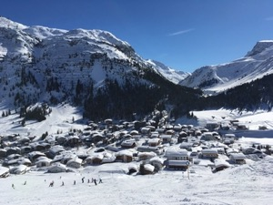 View down into Lech town from a little way up the ski slope.