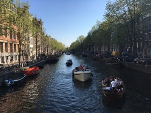 Small boats on an Amsterdam Canal