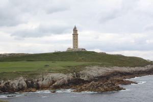 View of Torres de Hercules in La Coruna