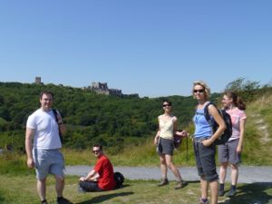The gang, at the top of the white cliffs, with Dover castle in the background