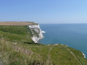 View along the top of the white cliffs of Dover, including the sea and the cliffs from side-on