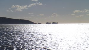 Silhouette of Isle of Wight Needles, viewed from Hurt Spit