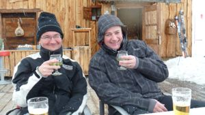 The guys enjoying a Geneipe in the snow