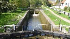 View over lock on the Grand Union Canal