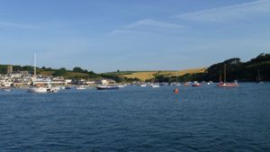 View over Dartmouth harbour, with sailing boats moored