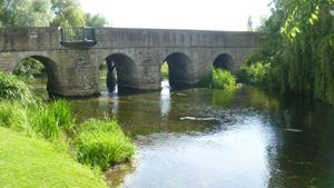 View of the stone arch bridge in Wye