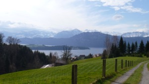 View over Luzern lake and mountains in the background